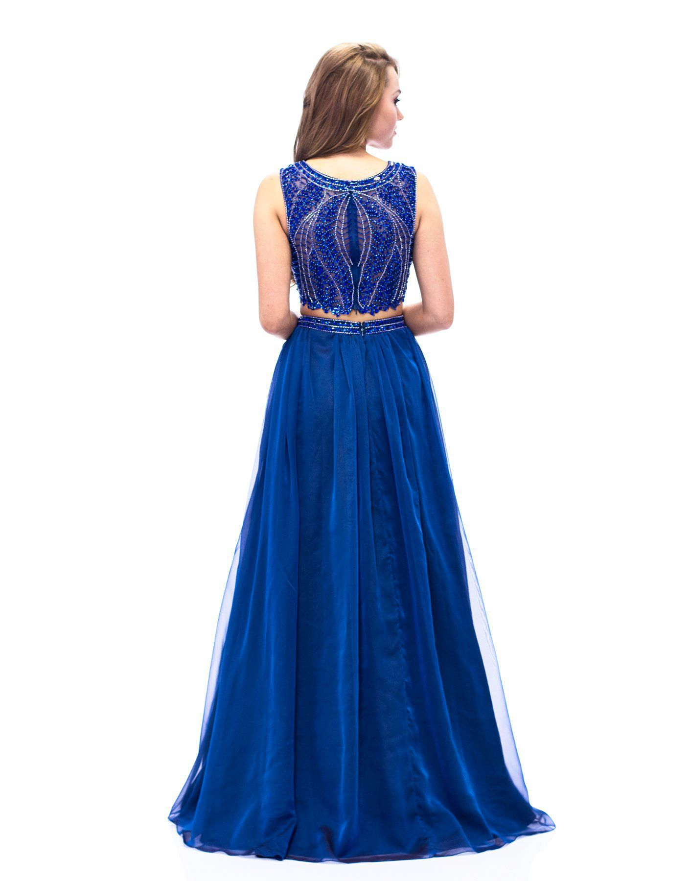Style E1958 Milano Formals Blue Size 12 Tulle Tall Height Side slit Dress on Queenly
