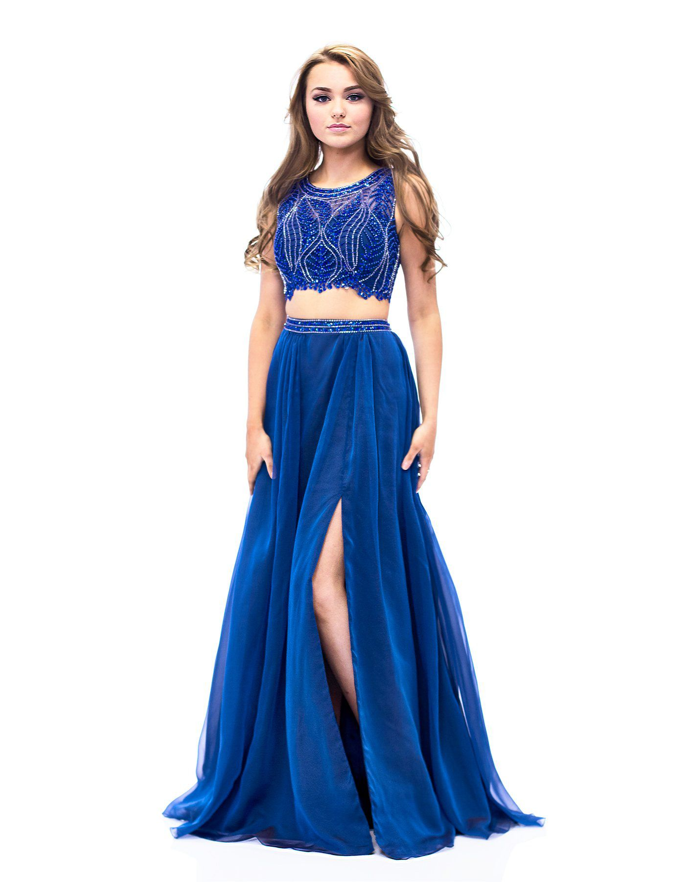Style E1958 Milano Formals Blue Size 14 Tulle Tall Height Side slit Dress on Queenly
