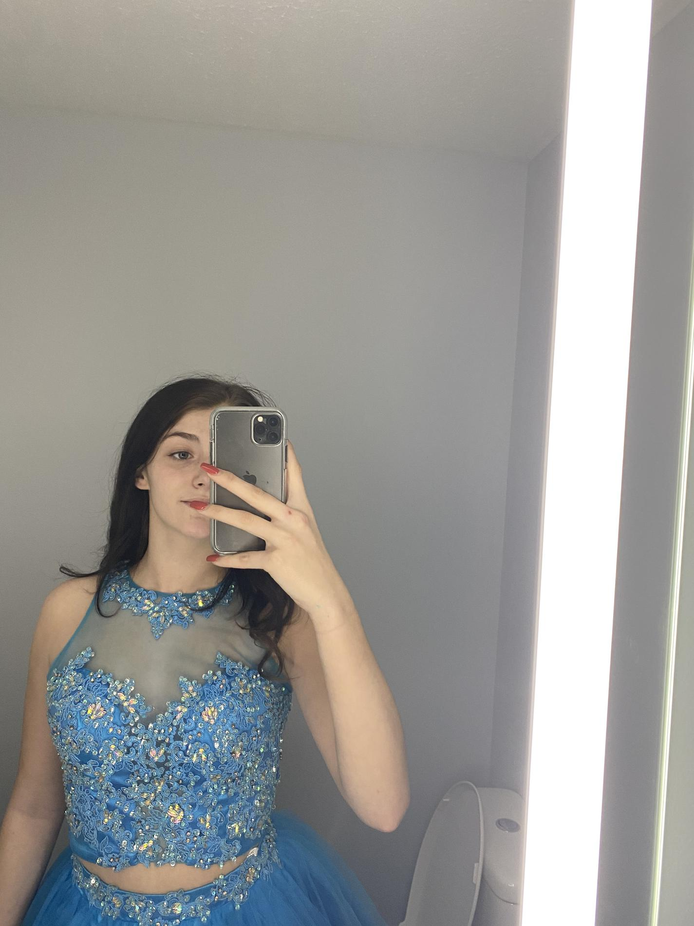 Rachel Allan Blue Size 4 Beaded Top Tulle Homecoming Cocktail Dress on Queenly