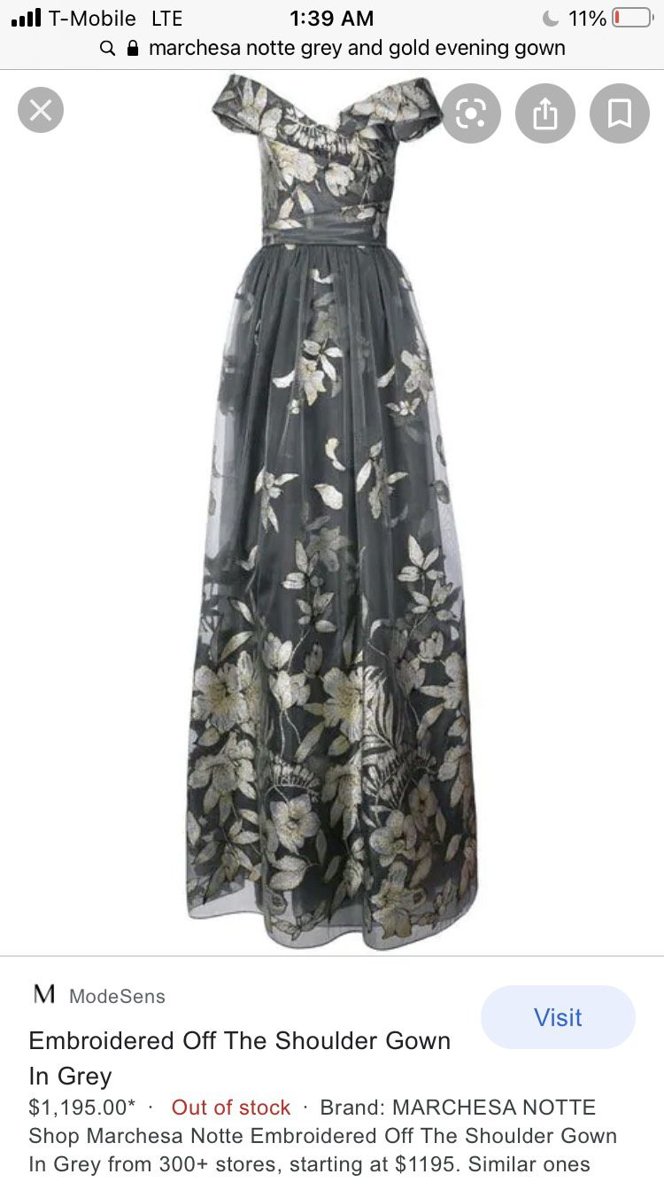 Marchesa notte Silver Size 4 Prom Tall Height A-line Dress on Queenly
