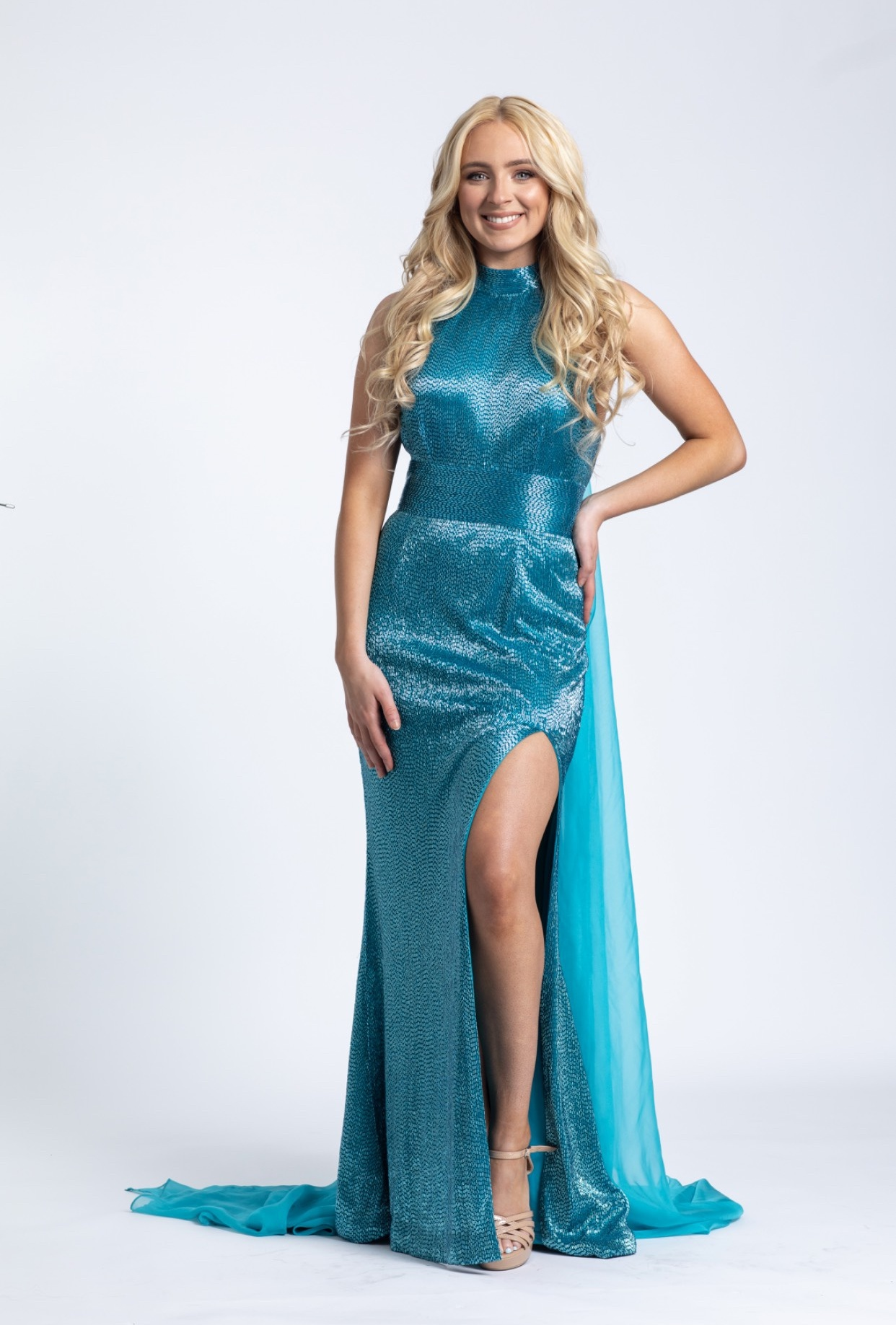 Ashley Lauren Blue Size 2 Shiny Cape Straight Dress on Queenly