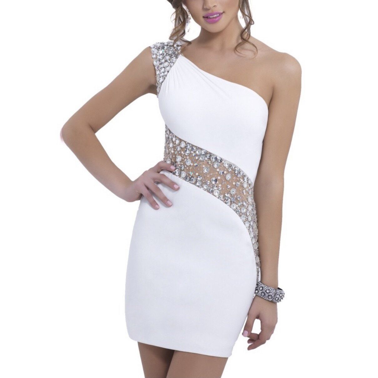 Blush White Size 2 One Shoulder Party Cocktail Dress on Queenly