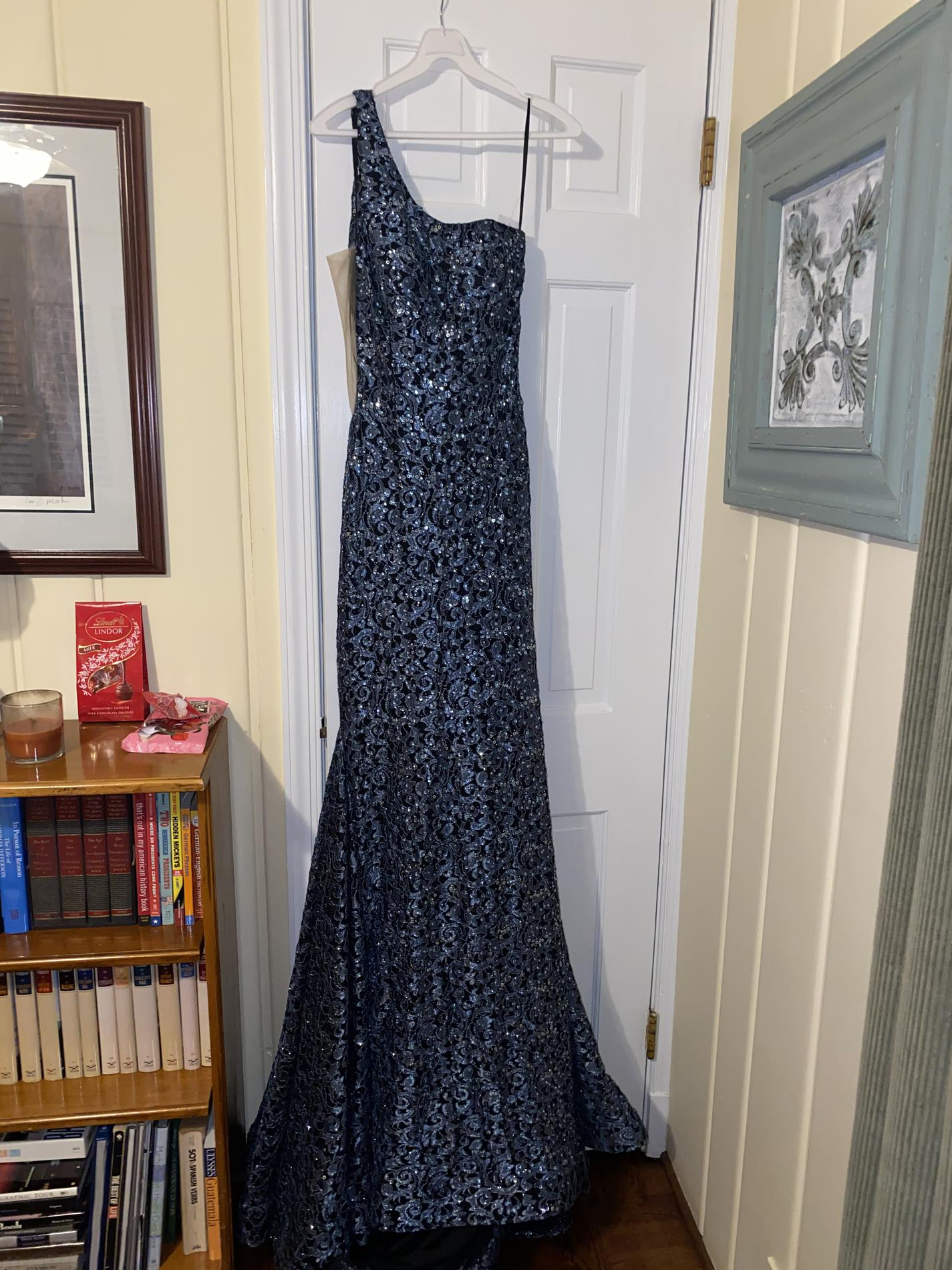 Jovani Blue Size 10 Pageant Train Straight Dress on Queenly