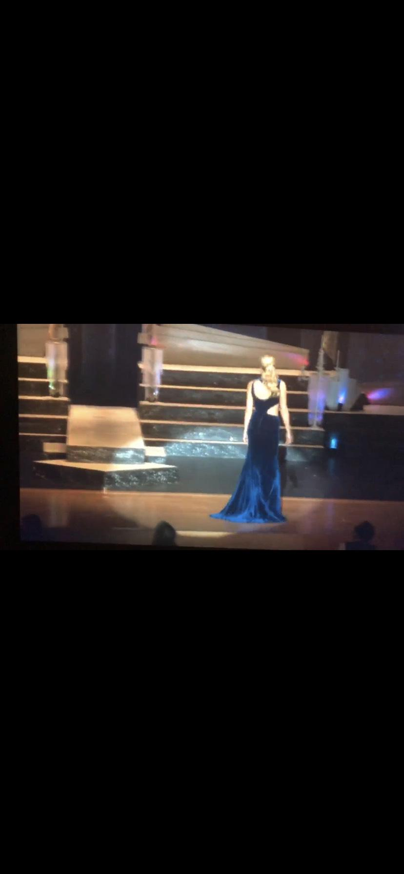 Jovani Couture Blue Size 6 Cut Out Navy Pageant Side slit Dress on Queenly