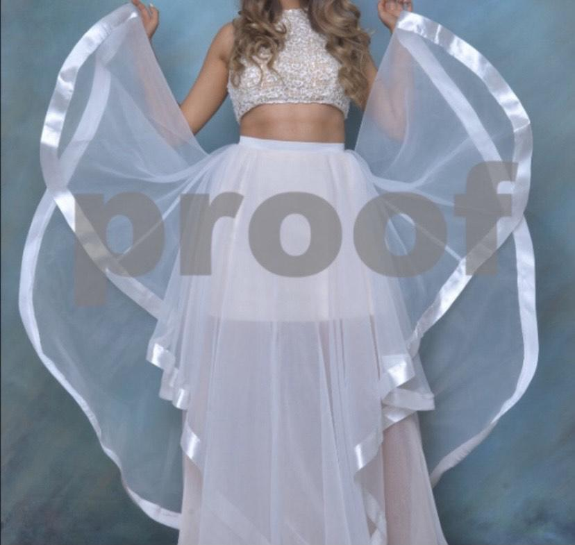 Faviana White Size 4 Pageant Halter Tall Height Ball gown on Queenly