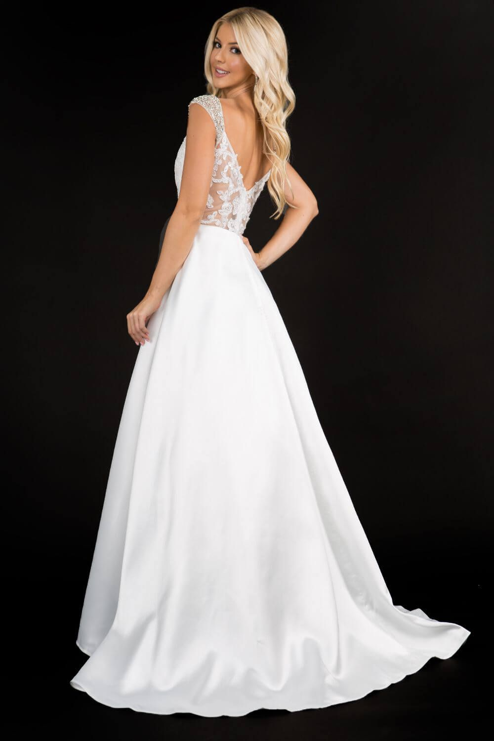 Style 2300 Nina Canacci White Size 14 Plus Size Prom Sweetheart A-line Dress on Queenly