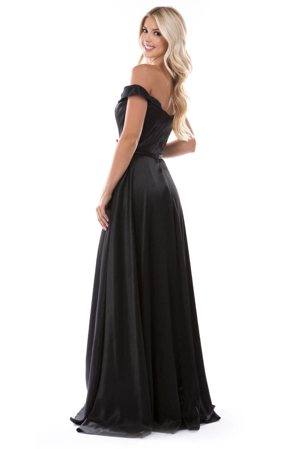 Style 6550 Nina Canacci Black Size 10 Prom Silk Side slit Dress on Queenly