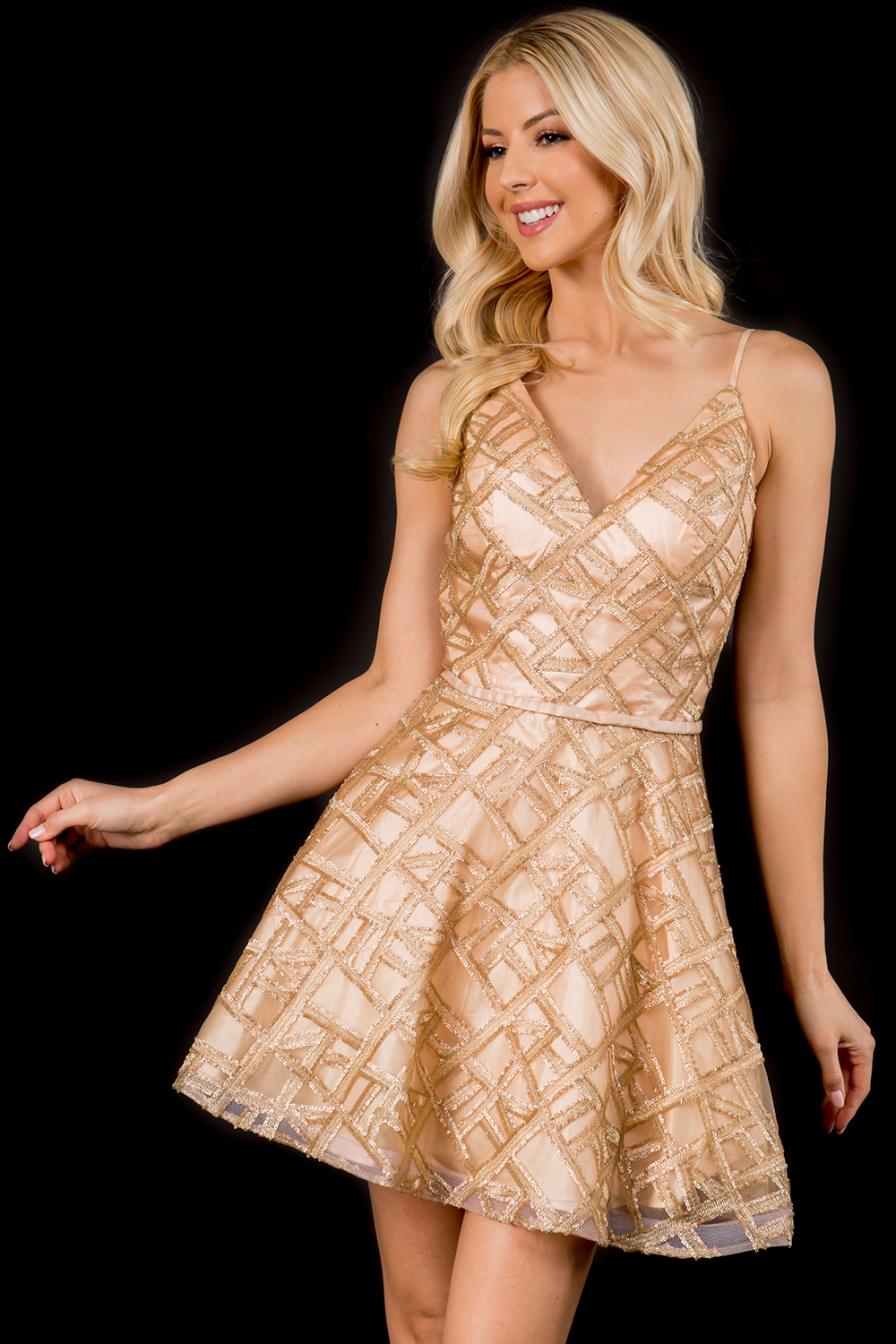 Style 265 Nina Canacci White Size 6 Gold Jewelled Graduation Cocktail Dress on Queenly