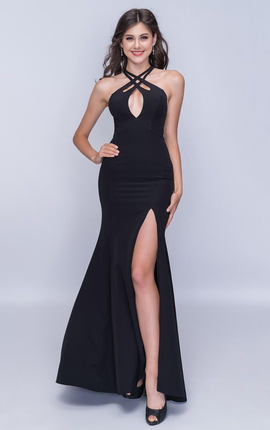 Style 6024 Nina Canacci Black Size 00 Prom Halter Tall Height Side slit Dress on Queenly