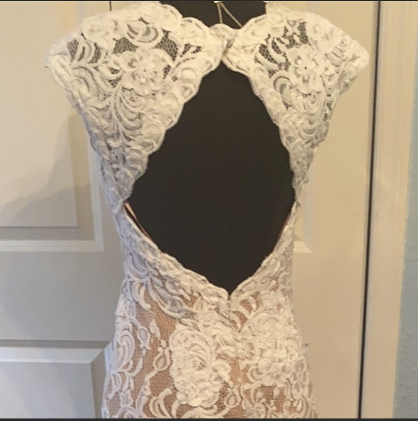 Jovani White Size 10 Wedding Short Height Lace Train Dress on Queenly
