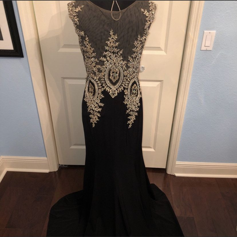 Cinderella Divine Black Size 12 Embroidery Sheer Straight Dress on Queenly