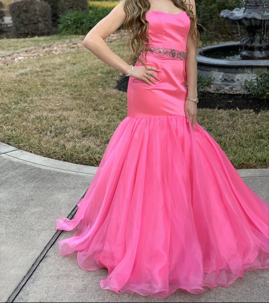 Sherri Hill Pink Size 2 Strapless Mermaid Dress on Queenly