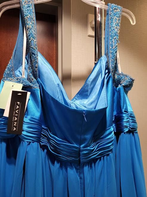 Style 9144 Faviana Blue Size 22 Halter Tall Height Straight Dress on Queenly