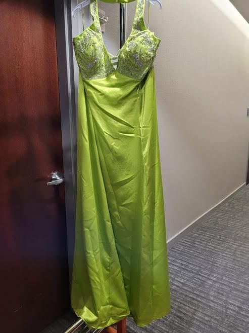 Style 9050 Aurora Green Size 22 Halter Tall Height A-line Dress on Queenly