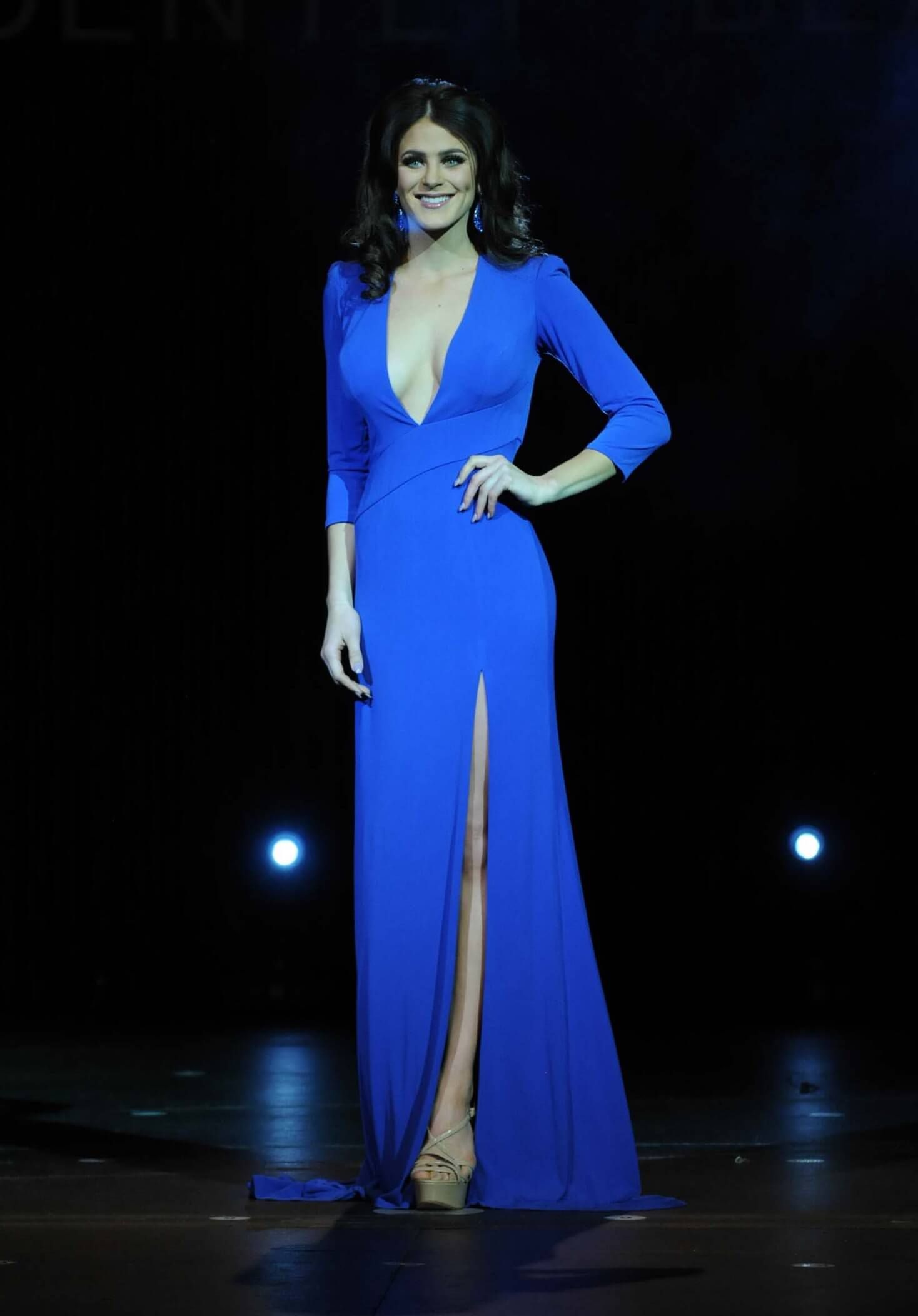 Sherri Hill Blue Size 4 Pageant Sheer Tall Height Side slit Dress on Queenly