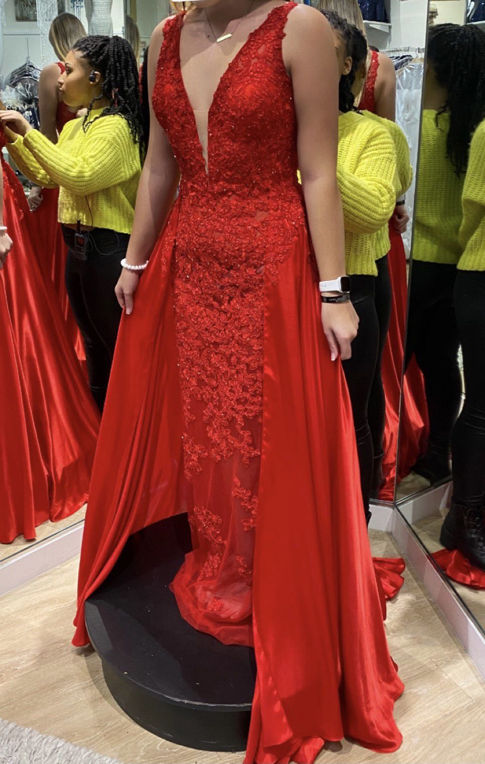 Sherri Hill Red Size 8 Overskirt Pageant Train Tall Height A-line Dress on Queenly