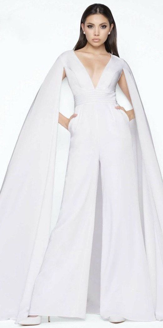 Mac Duggal White Size 6 Fun Fashion Jumpsuit Dress on Queenly