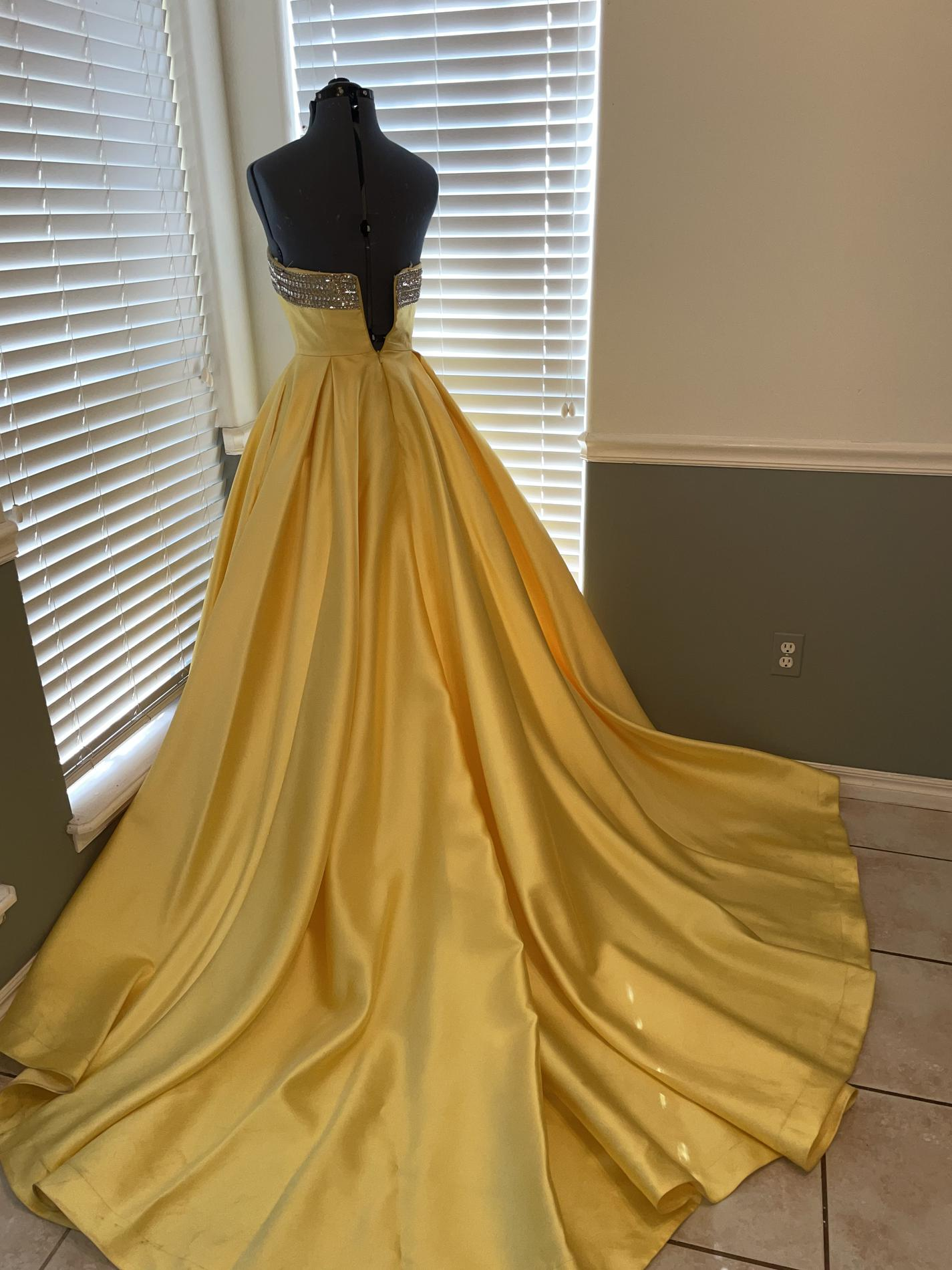 Mac Duggal Yellow Size 4 Strapless Sequin Black Ball gown on Queenly