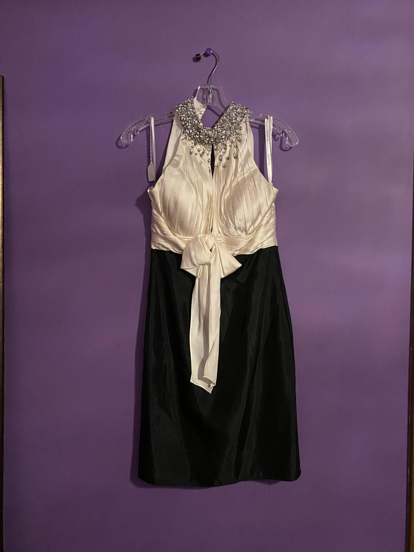 Sherri Hill Black Size 2 Halter Silk Cocktail Dress on Queenly