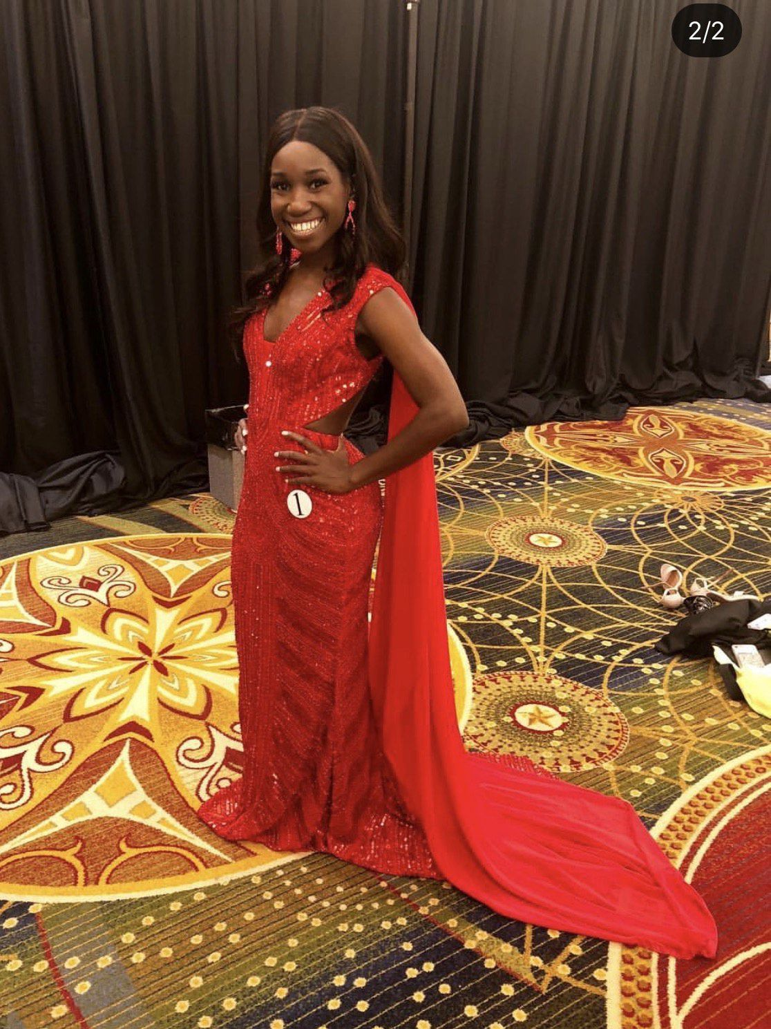Sherri Hill Red Size 2 Cape Pageant Train Straight Dress on Queenly