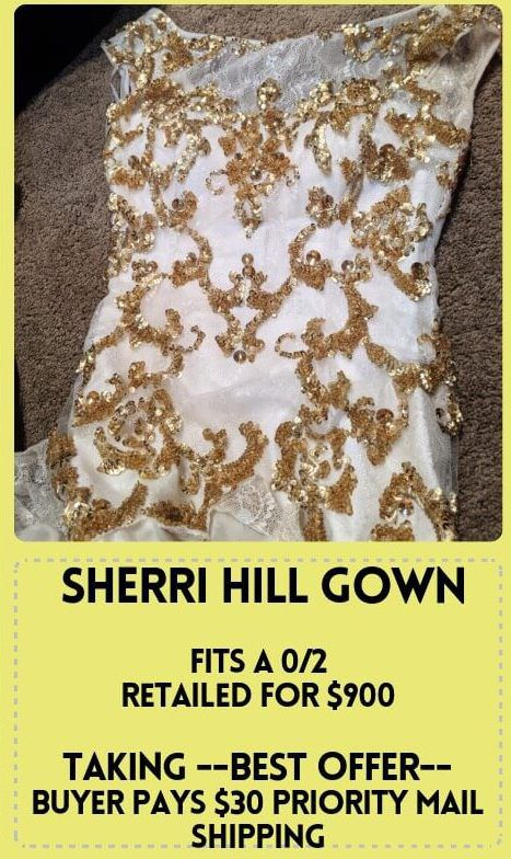 Sherri Hill White Size 0 Cap Sleeve Gold Pageant Short Height Mermaid Dress on Queenly