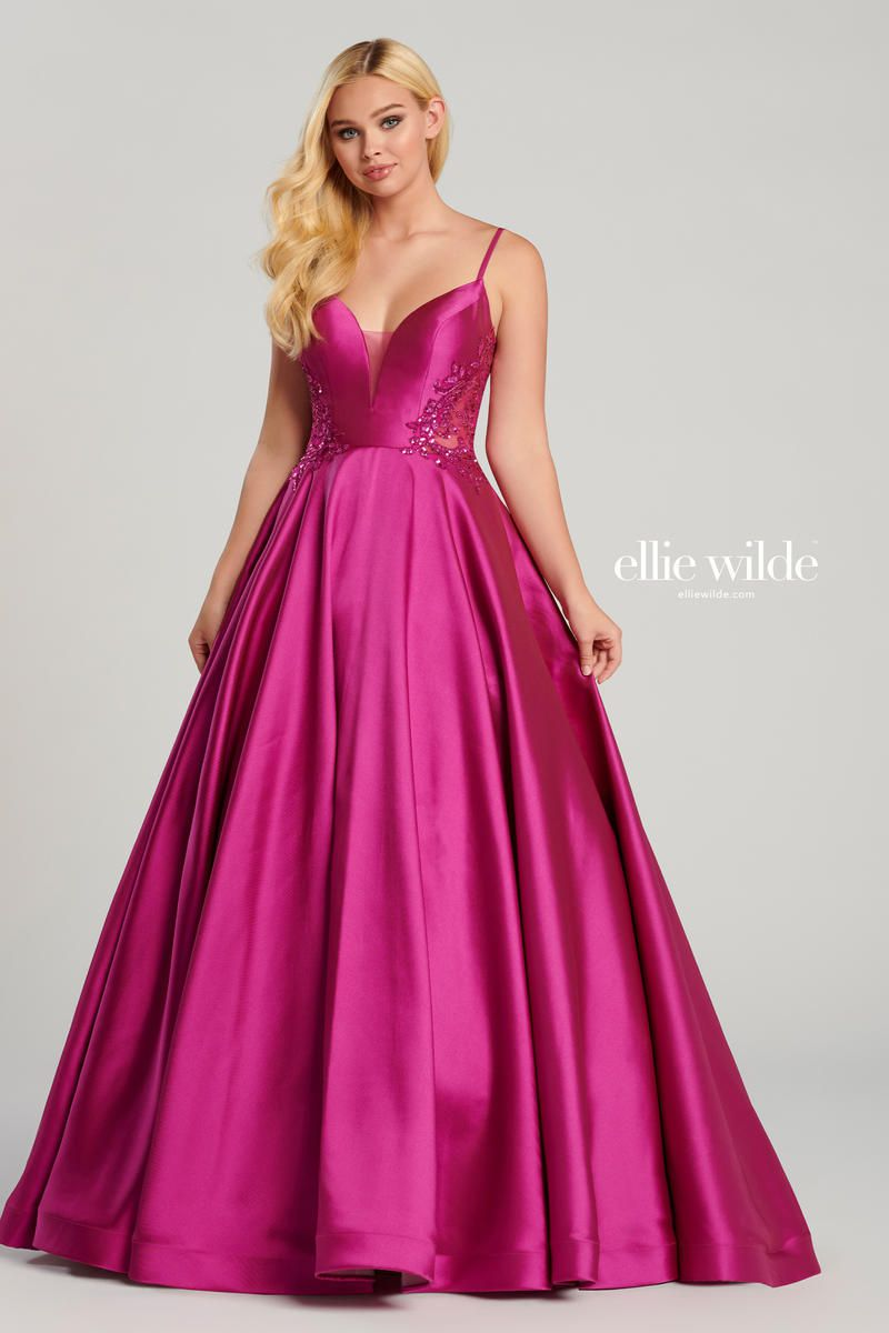 Style EW120137 Ellie Wilde Hot Pink Size 8 Silk Ball gown on Queenly