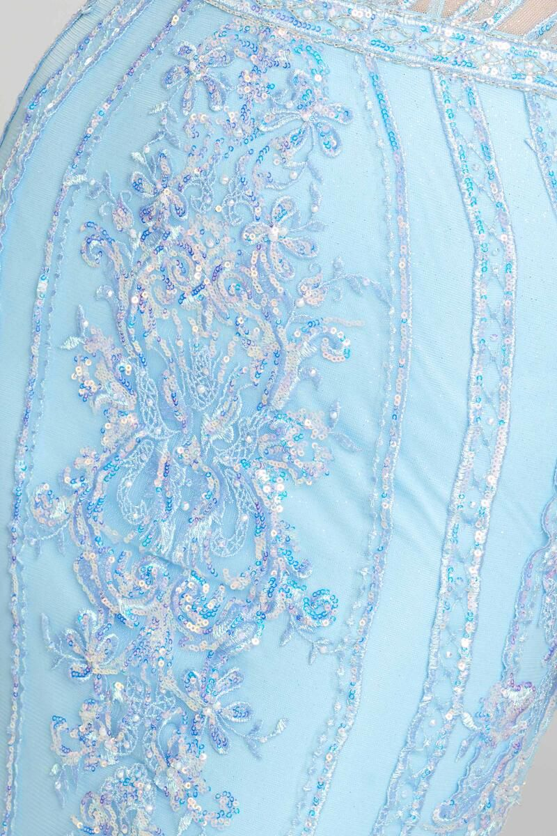 Style EW121056 Ellie Wilde Light Blue Size 0 Jewelled Mermaid Dress on Queenly