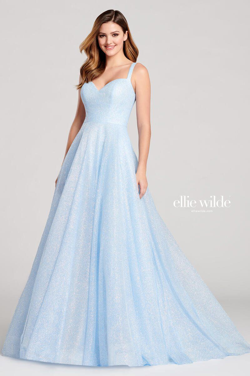Style EW22042 Ellie Wilde Blue Size 4 Tall Height Prom Sweetheart A-line Dress on Queenly
