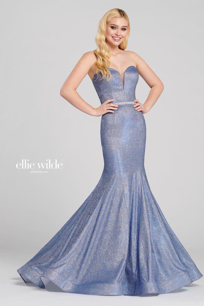 Style EW120125 Ellie Wilde Blue Size 14 Prom Sweetheart Mermaid Dress on Queenly