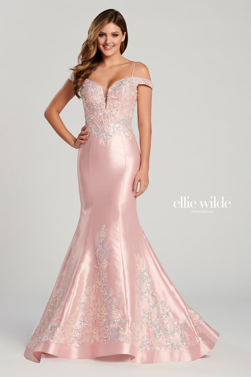 Style EW120131 Ellie Wilde Pink Size 0 Prom Silk Ball gown on Queenly