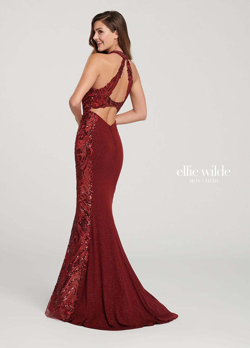 Style EW119110 Ellie Wilde Red Size 00 Keyhole Jewelled Mermaid Dress on Queenly