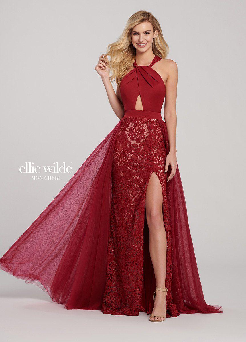 Style EW119069 Ellie Wilde Red Size 8 Burgundy Overskirt Side slit Dress on Queenly