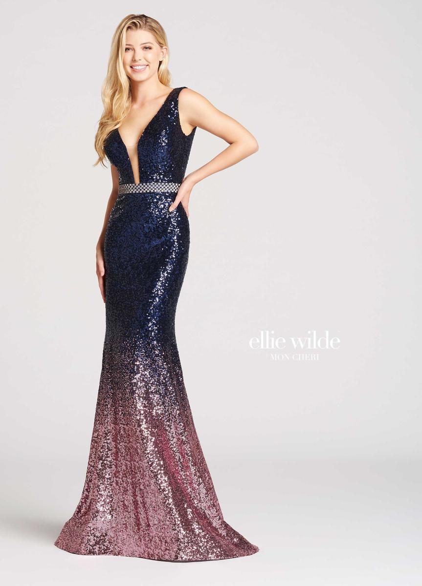 Style EW118047 Ellie Wilde Blue Size 8 Jewelled Navy Mermaid Dress on Queenly