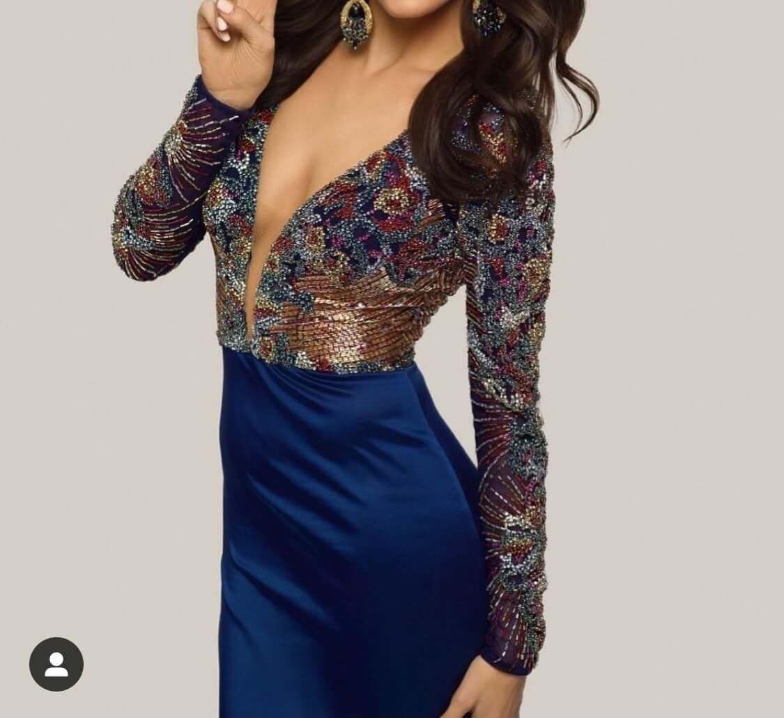 Sherri Hill Blue Size 6 Long Sleeve Liquid Beading Mermaid Dress on Queenly