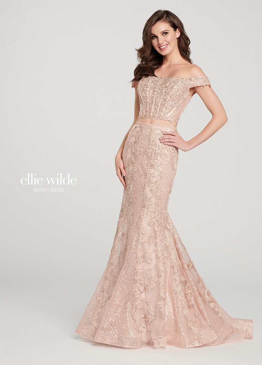 Style EW119016 Ellie Wilde Pink Size 16 Rose Gold Gold Sequin Mermaid Dress on Queenly