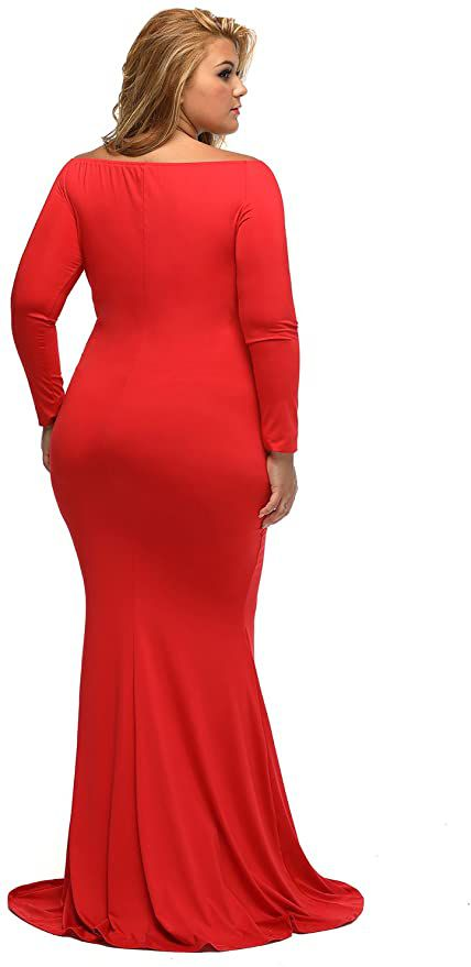 Style B01N5G3IEH Lalagen Red Size 24 Sleeves Tall Height Mermaid Dress on Queenly