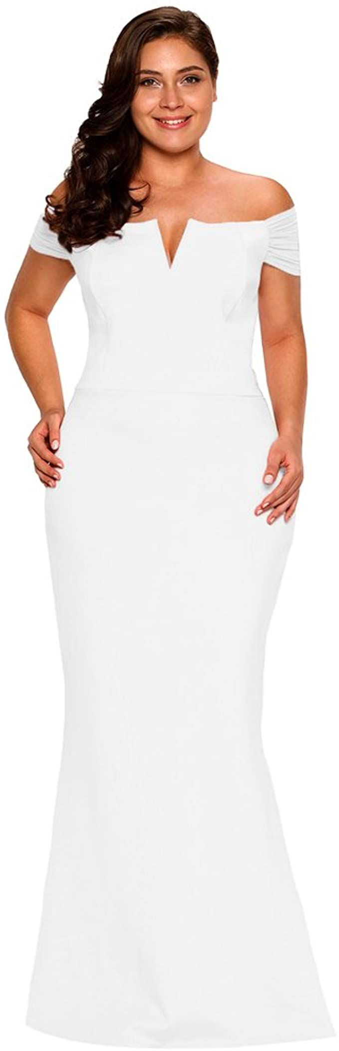 Style B073L9K7WH Lalagen White Size 24 Wedding Tall Height Mermaid Dress on Queenly
