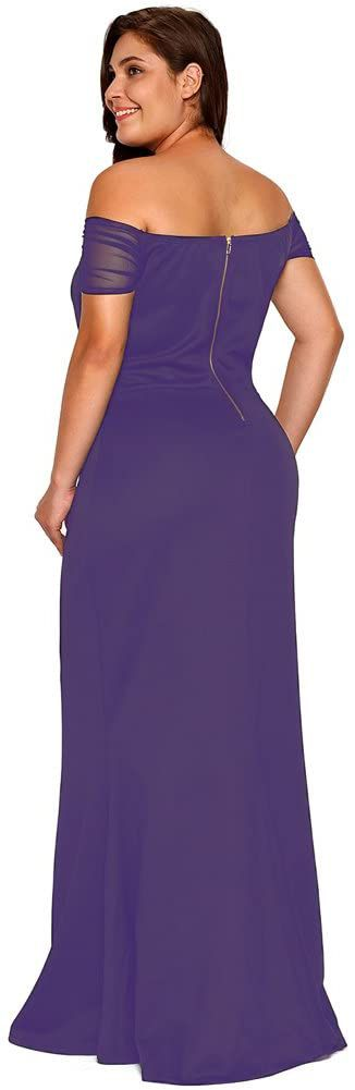 Style B073L9K7WH Lalagen Purple Size 20 Plunge Jersey Mermaid Dress on Queenly