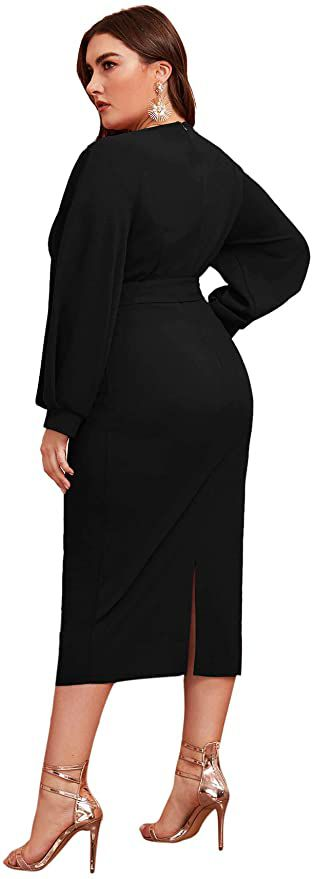 Style B07XK6R7M Verdusa Black Size 20 Interview Homecoming Tall Height Wedding Guest Cocktail Dress on Queenly