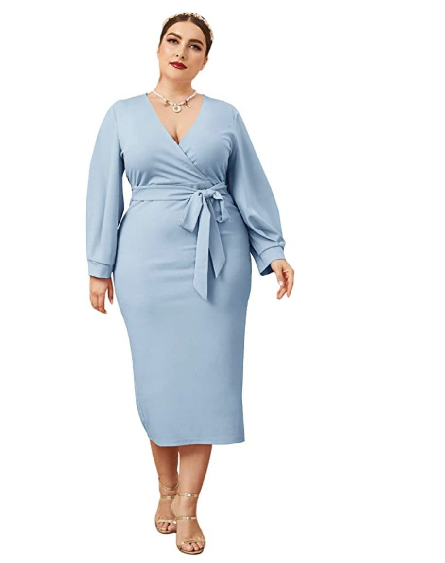 Style B07XK6R7M Verdusa Light Blue Size 16 Tall Height Sleeves Cocktail Dress on Queenly