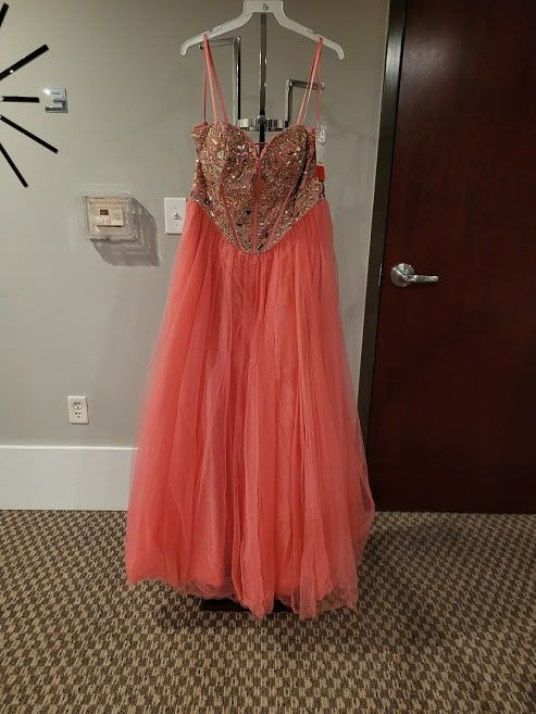 Style 91043 Mori Lee Orange Size 16 Tall Height Ball gown on Queenly