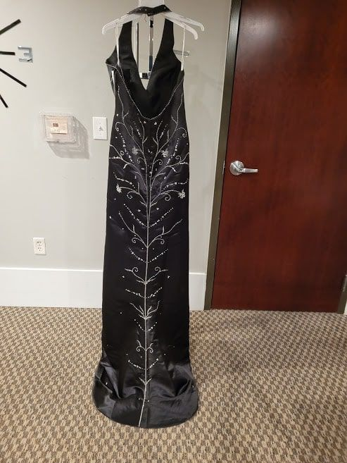 Style L8629 Precious Formals Black Size 16 Halter Tall Height Mermaid Dress on Queenly