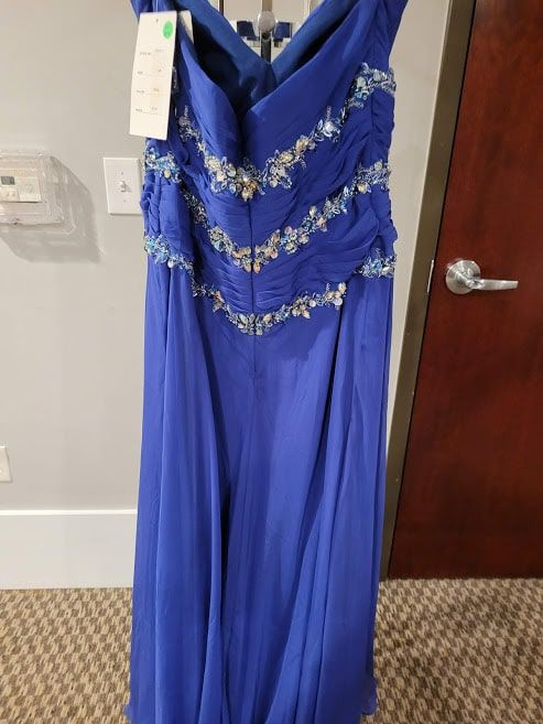 Style W20977 Precious Formals Blue Size 16 Plus Size Tall Height Straight Dress on Queenly