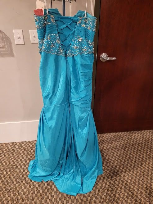 Style 3374 Karishma Prom Blue Size 16 Corset Plus Size Tall Height Mermaid Dress on Queenly