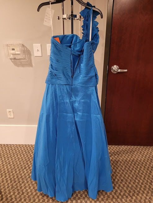 Style 3172 Karishma Prom Blue Size 16 One Shoulder Tall Height A-line Dress on Queenly