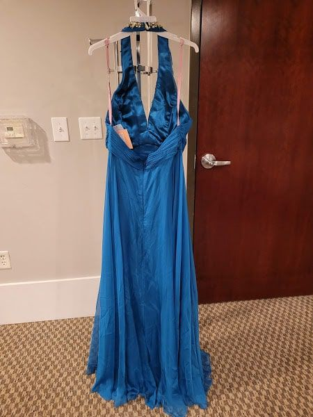 Style X139 Blush Prom Blue Size 16 Halter Tall Height A-line Dress on Queenly