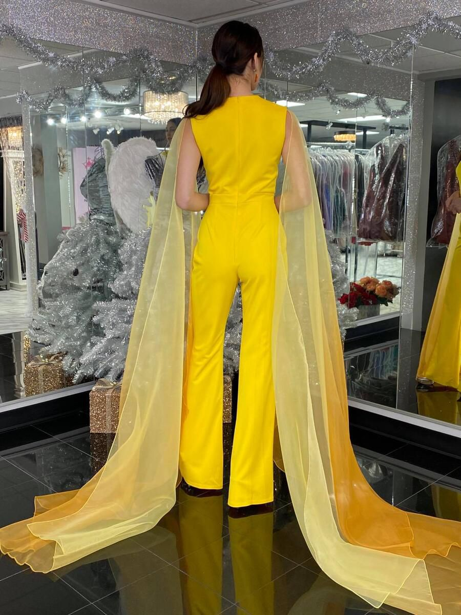 Style 2334 Fernando Wong Yellow Size 4 Pageant Tulle Tall Height Jumpsuit Dress on Queenly