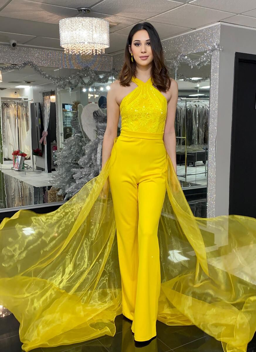 Style 2355 Fernando Wong Yellow Size 6 Tall Height Overskirt Halter Jumpsuit Dress on Queenly