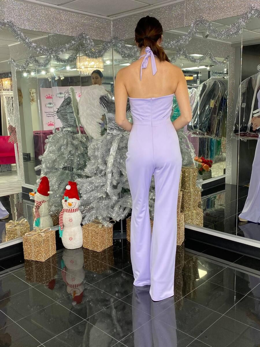 Style 2367 Fernando Wong Purple Size 8 Pageant Fun Fashion Tall Height Jumpsuit Dress on Queenly