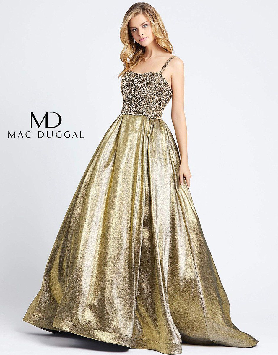 Style 66743H Mac Duggal Gold Size 14 Pageant Jewelled Tall Height Ball gown on Queenly